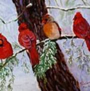 Birds On Branch In Snow Art Print