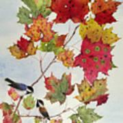 Birds On Maple Tree 6 Art Print