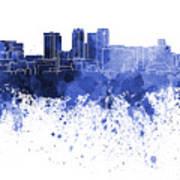 Birmingham Al Skyline In Blue Watercolor On White Background Art Print