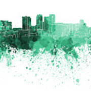 Birmingham Al Skyline In Green Watercolor On White Background Art Print