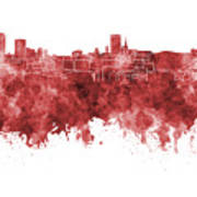 Birmingham Skyline In Red Watercolor On White Background Art Print
