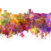 Birmingham Skyline In Watercolor On White Background Art Print