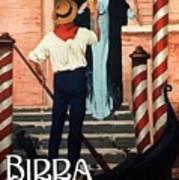 Birra San Marco, Venezia, Italy - Woman With Beer Glass - Retro Travel Poster - Vintage Poster Art Print