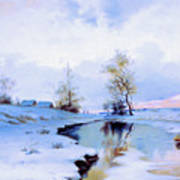 Birth Of Spring In The Snow Art Print