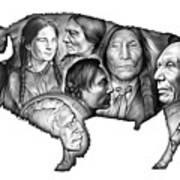 Bison Indian Montage Art Print