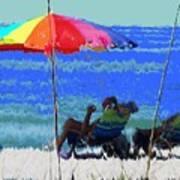 Bit Of Shade On The Beach Art Print