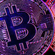 Bitcoin Coins In A Mysterious Lighting Art Print
