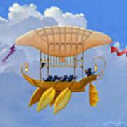 Bizarre Feline-powered Airship Art Print