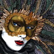 Black And Gold Carnival Mask Art Print