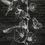 Black And Gold Hummingbirds 2 Art Print