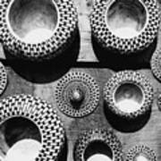 Black And White Abstract Pattern Beautiful Traditional Bowls Art Print