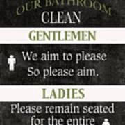 Black And White Bathroom Rules Art Print