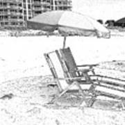 Black And White Beach Chairs Art Print