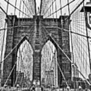 Black And White Brooklyn Bridge Art Print
