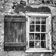 Black And White Cottage Window Art Print