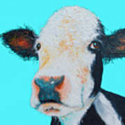 Black And White Cow On Blue Background Art Print