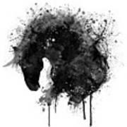 Black And White Horse Head Watercolor Silhouette Art Print