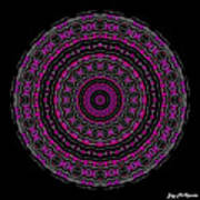 Black And White Mandala No. 3 In Color Print by Joy McKenzie