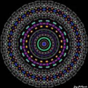 Black And White Mandala No. 4 In Color Art Print