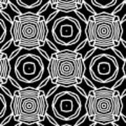 Black And White Modern Roses- Pattern Art By Linda Woods Art Print