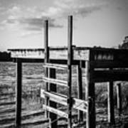 Black And White Old Time Dock Art Print
