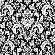 Black And White Paisley Pattern Vintage Art Print