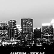Black And White Panoramic View Of Downtown Austin Art Print