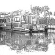 Black And White Party Boat Art Print