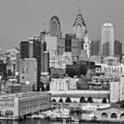 Black And White Philadelphia - Delaware River Art Print