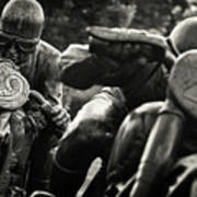Black And White Photography - Motorcyclists Art Print