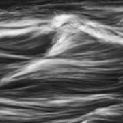 Black And White River Water Abstract  Art Print