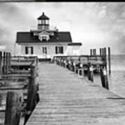Black And White  Roanoke Lighthouse Art Print