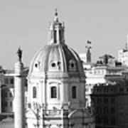 Black And White Rooftop In Rome Art Print