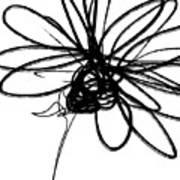 Black And White Sketch Flower 4- Art By Linda Woods Art Print