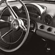Black And White Thunderbird Steering Wheel And Dash Art Print