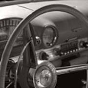 Black And White Thunderbird Steering Wheel  Art Print