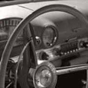 Black And White Thunderbird Steering Wheel  Art Print