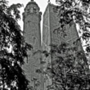 black and white Water Tower Art Print