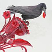 Black Bird Red Silicate Glass Flowers Gray Background 2 8282017  Art Print