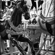 Black Carousel Horse Art Print