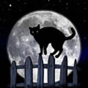 Black Cat And Full Moon 3 Art Print