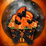 Black Cat Cupcake Art Print