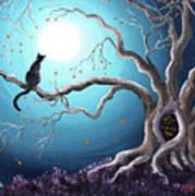 Black Cat In A Haunted Tree Art Print