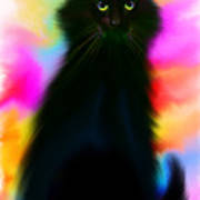 Black Cat Rainbow Sky Art Print