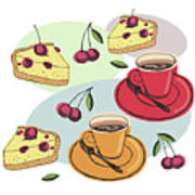 Black Cherry Pie And A Steaming Hot Cup Of Coffee Art Print