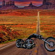 Black Chopper At Monument Valley Art Print