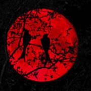 Black Drangos Under Blood Moon Art Print