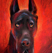 Black Great Dane Dog Painting Art Print
