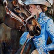 Black Horse And Cowgirl   Art Print