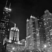 Black Night In The Windy City Art Print